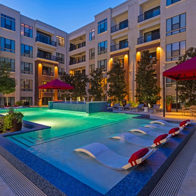 Twilight pool view at Ascent at City Centre Apartments in Houston