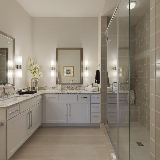 Large bathrooms at Ascent at City Centre Apartments in Houston