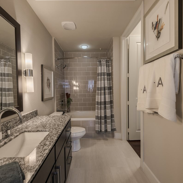 Expansive bathrooms at Ascent at City Centre Apartments in Houston