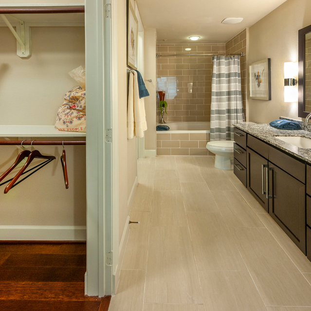 Closet space in bathroom at Ascent at City Centre Apartments in Houston