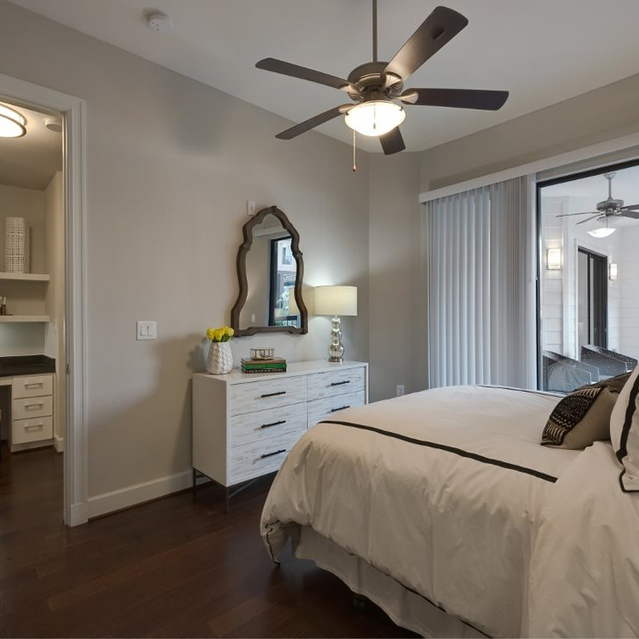 Bedroom with built in desk at Ascent at City Centre Apartments in Houston