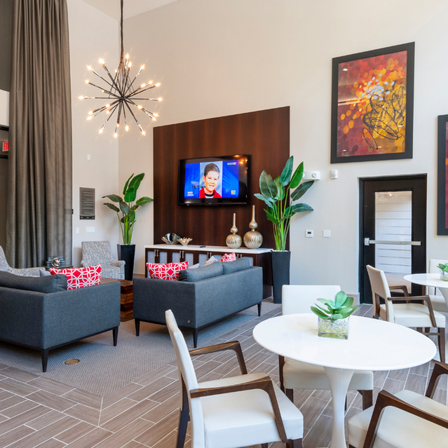 Clubhouse space at Ascent at City Centre Apartments in Houston