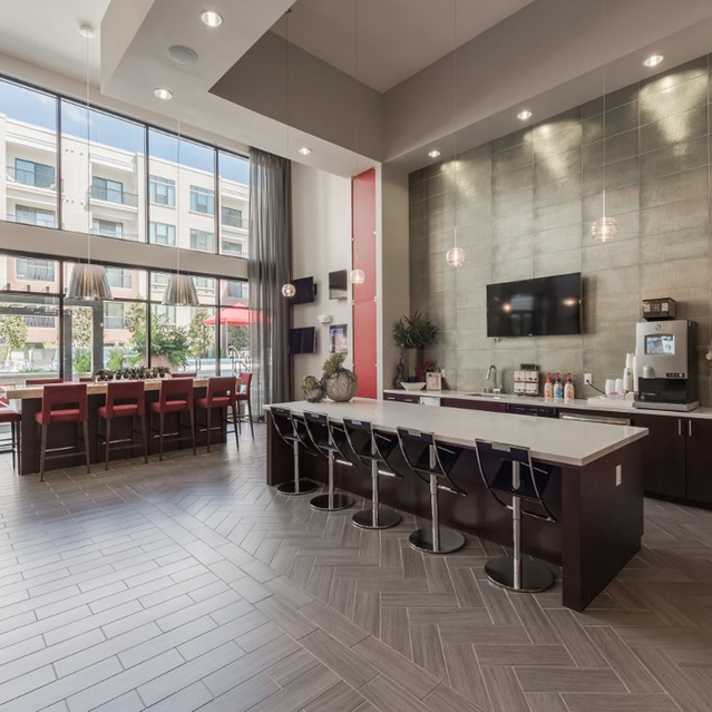 Coffee bar space at Ascent at City Centre Apartments in Houston