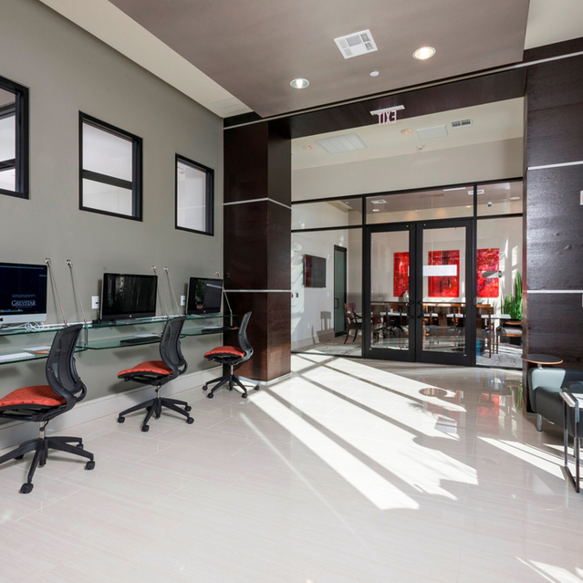Coworking space at Ascent at City Centre Apartments in Houston