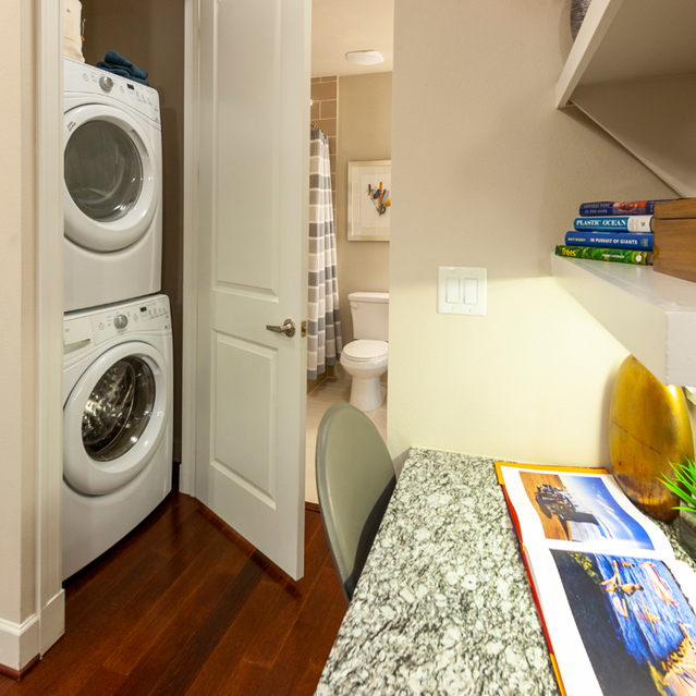 Stackable laundry at Ascent at City Centre Apartments in Houston