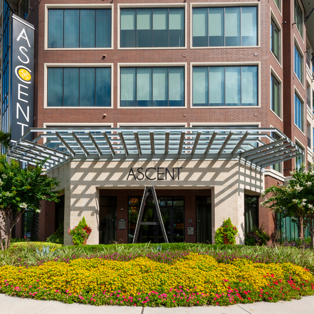 Exterior entrance at Ascent at City Centre Apartments in Houston
