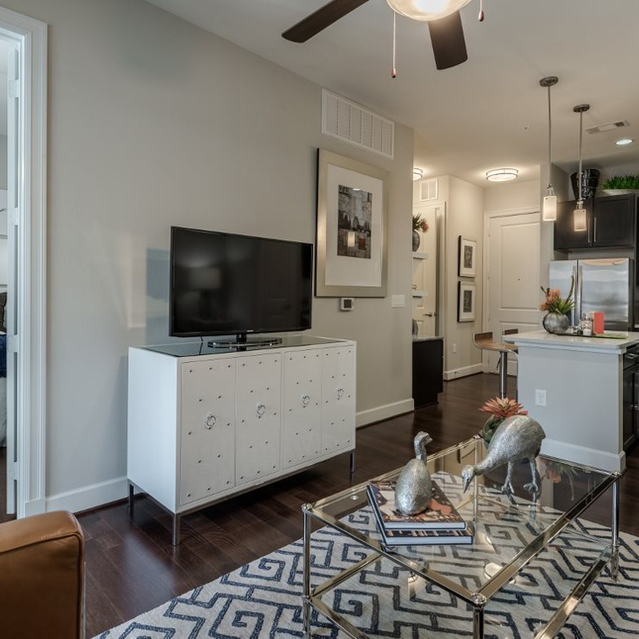 Hardwood floors at Ascent at City Centre Apartments in Houston