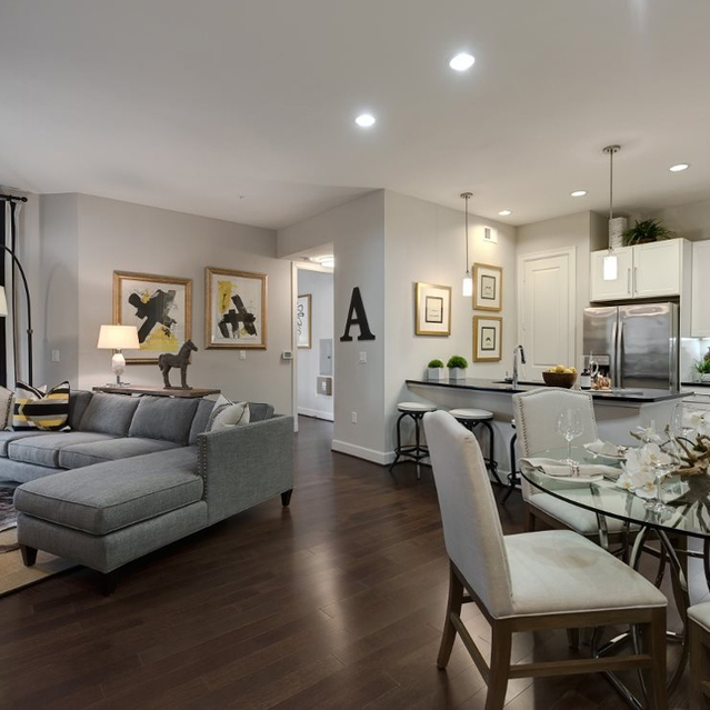 Living and dining space at Ascent at City Centre Apartments in Houston