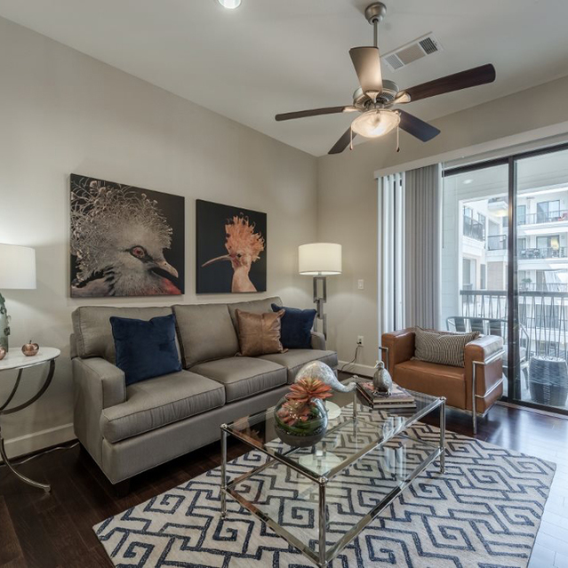 Hardwood floors in living room at Ascent at City Centre Apartments in Houston