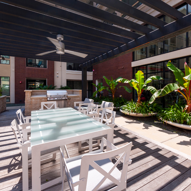 Pool patio at Ascent at City Centre Apartments in Houston