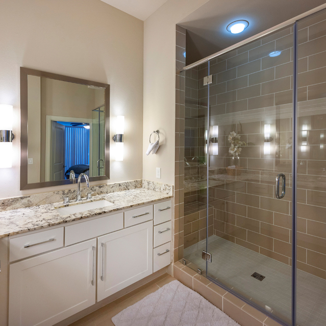 Sink and shower at Ascent at City Centre Apartments in Houston