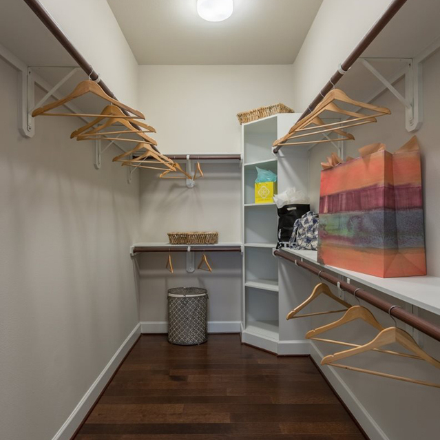 Walk in closet at Ascent at City Centre Apartments in Houston